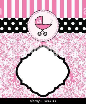 Vintage baby dusche Einladungskarte mit verzierten elegante Retro abstrakt Floral Design, rosa Blüten und Blätter - Stockfoto