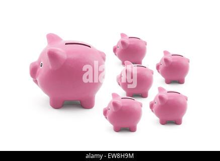 Gruppe von rosa Sparschweine Stockfoto