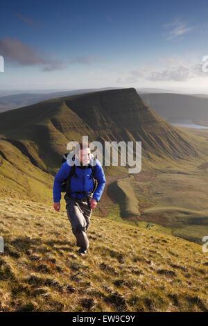 Hillwalker Fan Foel auf dem schwarzen Berg klettern. Brecon Beacons National Park. Carmarthenshire. Wales. - Stockfoto