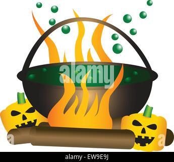 Halloween-Thema. Kochenden Hexenkessel mit grünen Substanz, mit einem großen Feuer und Kürbisse unter. - Stockfoto