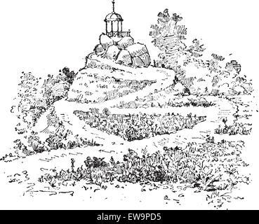 Labyrinth in einem Garten, Vintage graviert Abbildung. Wörter und Sachen - Larive und Fleury - 1895. - Stockfoto