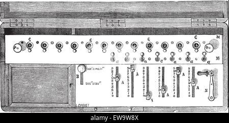 Alte eingravierte Darstellung der arithmometer oder Arithmometer mit Erwähnung seiner funktionierenden Teile. Industrielle - Stockfoto
