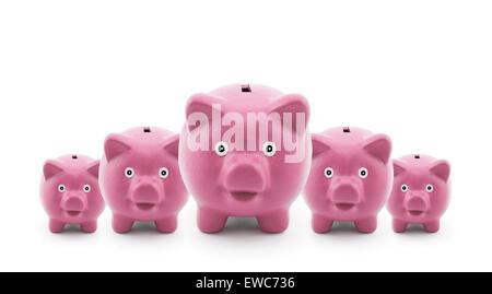 Gruppe von rosa Sparschweine - Stockfoto
