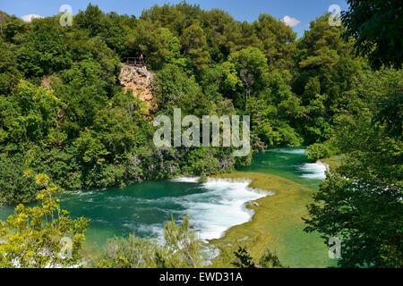 Skradinski Buk Wasserfälle im Krka Nationalpark an der dalmatinischen Küste von Kroatien - Stockfoto