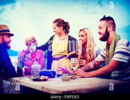 Diverse Sommer Beach Party Top Spaß Dachkonzept - Stockfoto