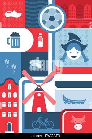 Illustrative Collage aus Stadtleben in Amsterdam, Niederlande - Stockfoto
