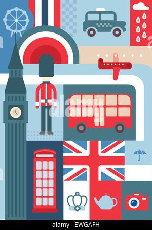 Illustrative Collage Stadtleben in London vertreten - Stockfoto
