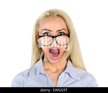 Isolierte Closeup böse Frau - Stockfoto