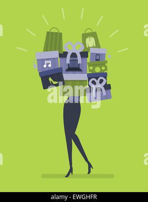 Abbildung Bild Frau überschüssige Shopping - Stockfoto