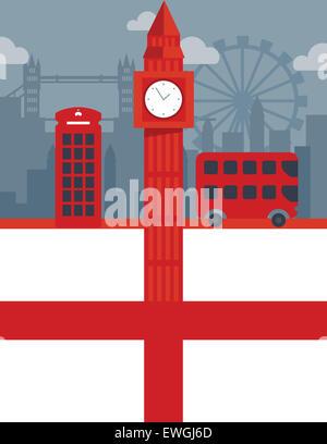 Illustrative Collage aus berühmten historischen Sehenswürdigkeiten von London, England - Stockfoto