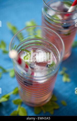 Hausgemachte Limonade hergestellt aus roten Beeren - Stockfoto