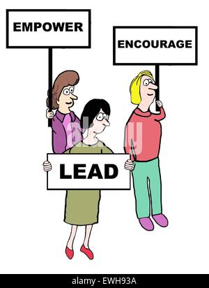 """Geschäft Cartoon Geschäftsfrauen mit Schildern, die lesen, """"stärken"""", """"fördern"""", """"führen"""". - Stockfoto"""