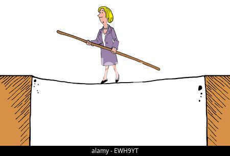 Geschäft Karikatur Geschäftsfrau zu Fuß auf einem Drahtseil. - Stockfoto