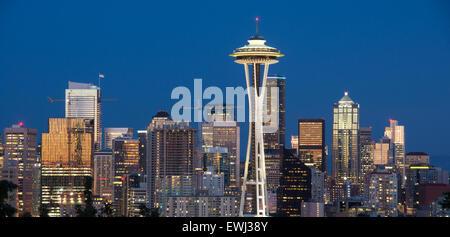 Downtown Seattle als vom Kerry Park im Queen Anne Hill gesehen - Stockfoto
