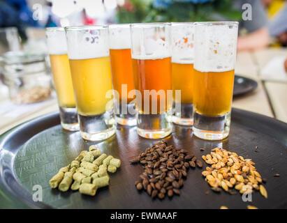 verschiedene arten von bier im glas auf dem tisch stockfoto bild 156189777 alamy. Black Bedroom Furniture Sets. Home Design Ideas