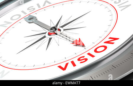 Kompass mit Nadel zeigt das Wort Vision. Konzeptionelle Darstellung Teil zwei einer Firma Anweisung, Mission, Vision - Stockfoto