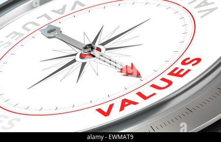 Kompass mit Nadel zeigt das Wort Werte. Konzeptionelle Darstellung dritten Teil ein Unternehmenserklärung, Mission, - Stockfoto