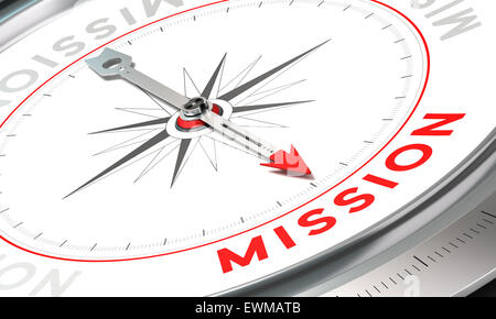 Kompass mit Nadel zeigt die Wort-Mission. Konzeptionelle Darstellung Teil eines ein Unternehmenserklärung, Mission, - Stockfoto