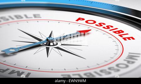 Kompass mit Nadel nach dem Wort möglich. Prinzipdarstellung geeignet für Motivation und Zielerreichung. - Stockfoto