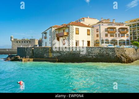 Puerto De La Cruz, Festung im Hafen von CityTenerife, Kanarische Inseln, Spanien - Stockfoto