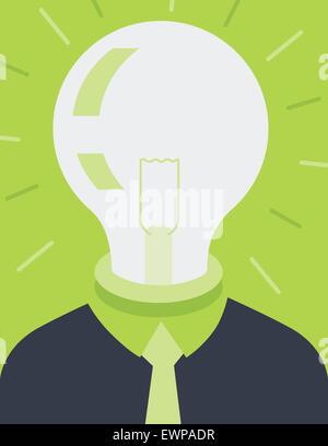 Virtuelle Geist der Geschäftsmann mit Glühbirne auf Kopf Stockfoto
