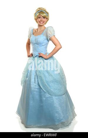 Schöne junge Frau, gekleidet in Prinzen Kostüm isoliert auf weißem Hintergrund - Stockfoto