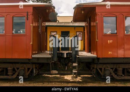 Eisenbahnwaggons von einem Personenzug in South Australia - Stockfoto