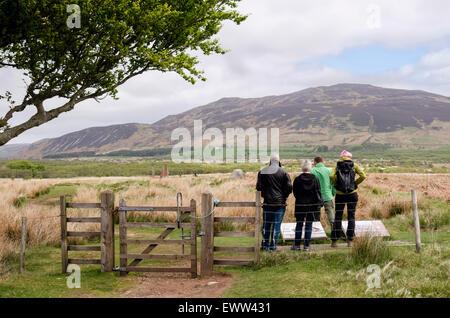 Besucher lesen Informationstafeln für Machrie Moor Stein Kreise auf der Isle of Arran, North Ayrshire, Strathclyde, - Stockfoto