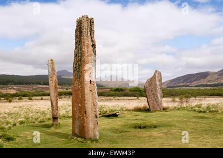 Jungsteinzeit stehende Steine aus rotem Sandstein bei Machrie Moor Steinkreise auf der Isle of Arran North Ayrshire - Stockfoto