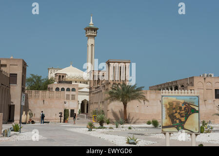 Vereinigte Arabische Emirate, Dubai. Al Bastakiya Viertel, bekannt für seine historischen Wind-Turm-Häuser (etwa - Stockfoto
