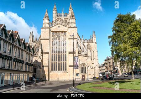 Blick auf Bath Abbey in der alten Stadt Bath, Somerset, England - Stockfoto