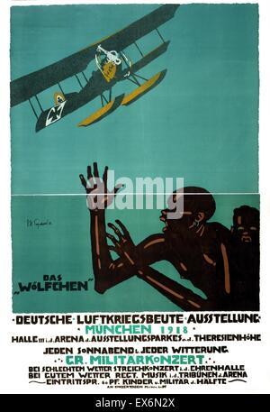 """Das Poster zeigt einen deutsche Land/Meer Doppeldecker, der """"Wolfschen"""", fliegen über Afrikaner, die in Angst kauern - Stockfoto"""