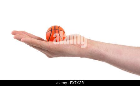 Kleine Spielzeug Basketball Ball isoliert auf weißem Hintergrund - Stockfoto