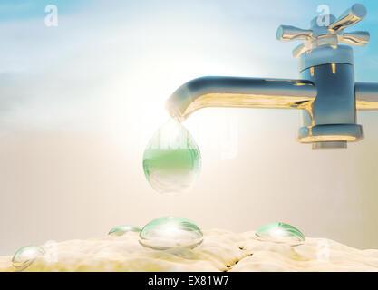 Wassertropfen aus Wasserversorgung Wasserhahn tropft. Welt-Umwelttag. - Stockfoto