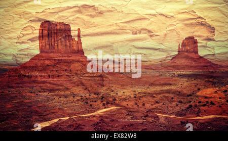 Monument Valley-Postkarte, Retro-alte Papier Effekt. - Stockfoto