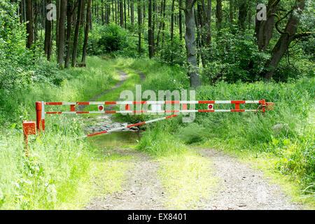 Schranke auf ländlichen Weg mit Nutzung von Wald im Hintergrund - Stockfoto