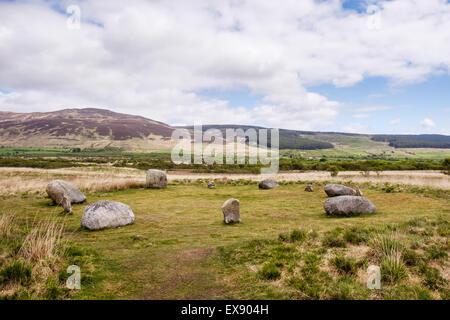 Steinkreis am Machrie Moor Menhire, Machrie, Isle of Arran, North Ayrshire, Strathclyde, Schottland, UK, Großbritannien - Stockfoto