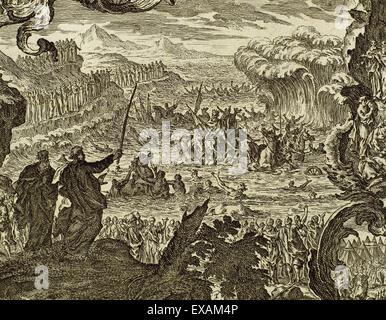 Abschied von den Gewässern des Roten Meeres. Das Buch Exodus. Kapitel 15, Vers 1. Gravur. - Stockfoto