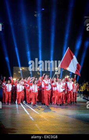 Toronto, Ontario, Kanada. 10. Juli 2015. Team Peru kommt bei Pan American Games in Rogers Centre Credit: Igor Vidyashev/ZUMA - Stockfoto