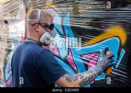 Sprühfarbe Streetart Künstler Bilder Zu Malen Mit Einem Zuschauer