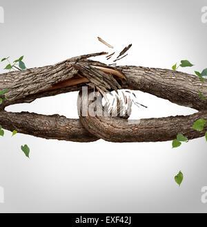 Gebrochene Kette Konzept und getrennte Symbol als zwei verschiedene Stämme gebunden und miteinander als schwach, zerbrechlich, Links zu brechen und Vertrauen oder glauben Metapher als Trennung und Scheidung oder zerbrochene Beziehung zu verlieren.