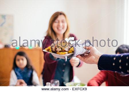 Familiäre Weihnachtsfeier - Stockfoto