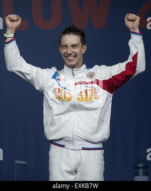 Moskau, Russland. 14. Juli 2015. Alexey Yakimenko Russlands mit Goldmedaille, während die Männer einzelne Sabre - Stockfoto