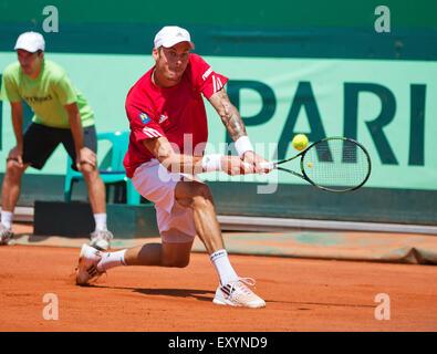 Österreich, KitzbŸhel, Juli 18, 2015, Tennis, Davis Cup, zweite match zwischen Andreas Haider-Maurer (AUT) und Robin - Stockfoto