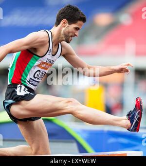 Luke GUNN im 3000 m Hindernislauf der Männer konkurrieren, 2014 Sainsbury's British Championships Birmingham Alexander - Stockfoto