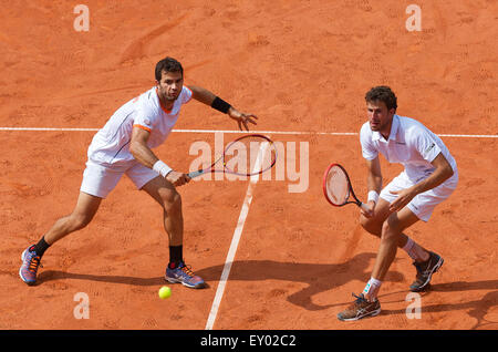 Österreich, KitzbŸhel, Juli 18, 2015, Tennis, Davis Cup, dritte match: Doppel: Olivier Marach/Jürgen Meltzer (AUT) - Stockfoto