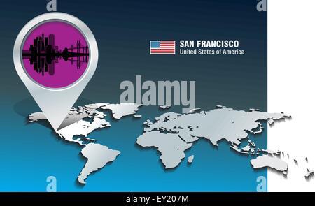 Karte-Pin mit Skyline von San Francisco - Vektor-illustration - Stockfoto