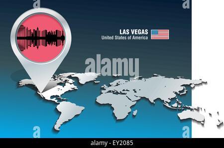 Karte-Pin mit Las Vegas Skyline - Vektor-illustration - Stockfoto