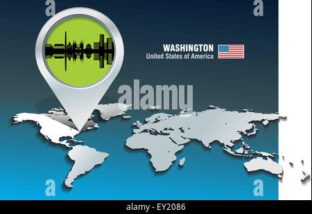 Karte-Pin mit Washington Skyline - Vektor-illustration - Stockfoto