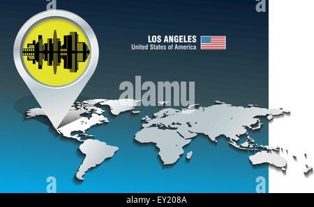 Karte-Pin mit Skyline von Los Angeles - Vektor-illustration - Stockfoto